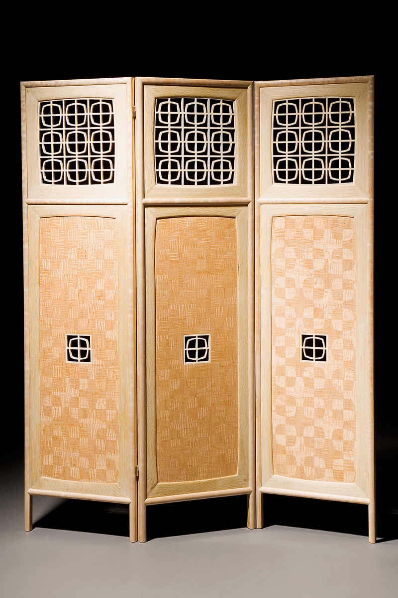 """Screen With a View"" Custom Inlaid Parquetry Divider Folding Screen. Freestanding Mid-century modern style screen features a sandblasted, pierced panel in Maple. Wood: Curly Sugar maple, Quilted Big Leaf Maple, Bleached White Oak. Finish: Hand-rubbed varnish. Size: 60"" x 1"" x 60""."