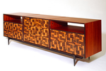 """Tartan"" Modern, Custom Inlaid Parquetry Console Cabinet (side view)"