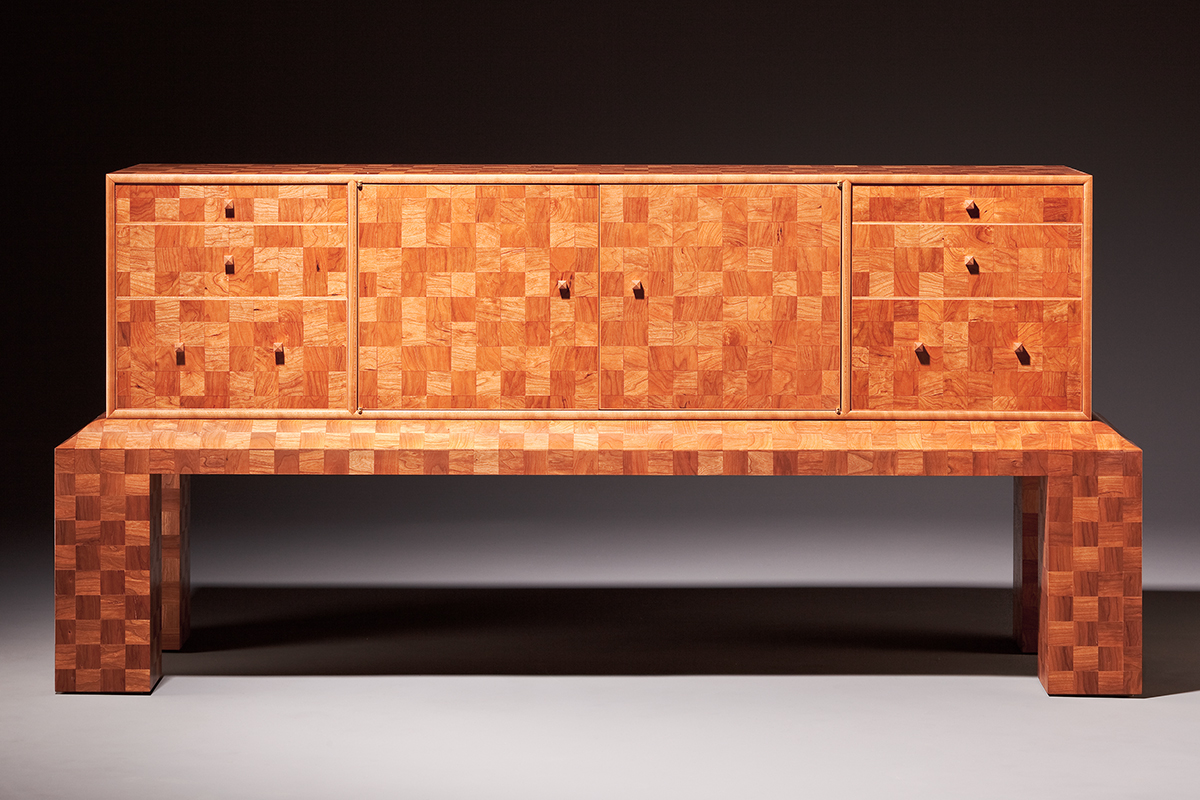 """2700 Squares"" Custom Inlaid Parquetry Sideboard Cabinet inspired by pre-WWII modernist aesthetics features a tiled pattern of alternating squares. Wood: Cherry, Sugar Maple, Alaskan Yellow Cedar, English Yew. Finish: Hand-rubbed varnish. Size: 66"" x 21"" x 31""."