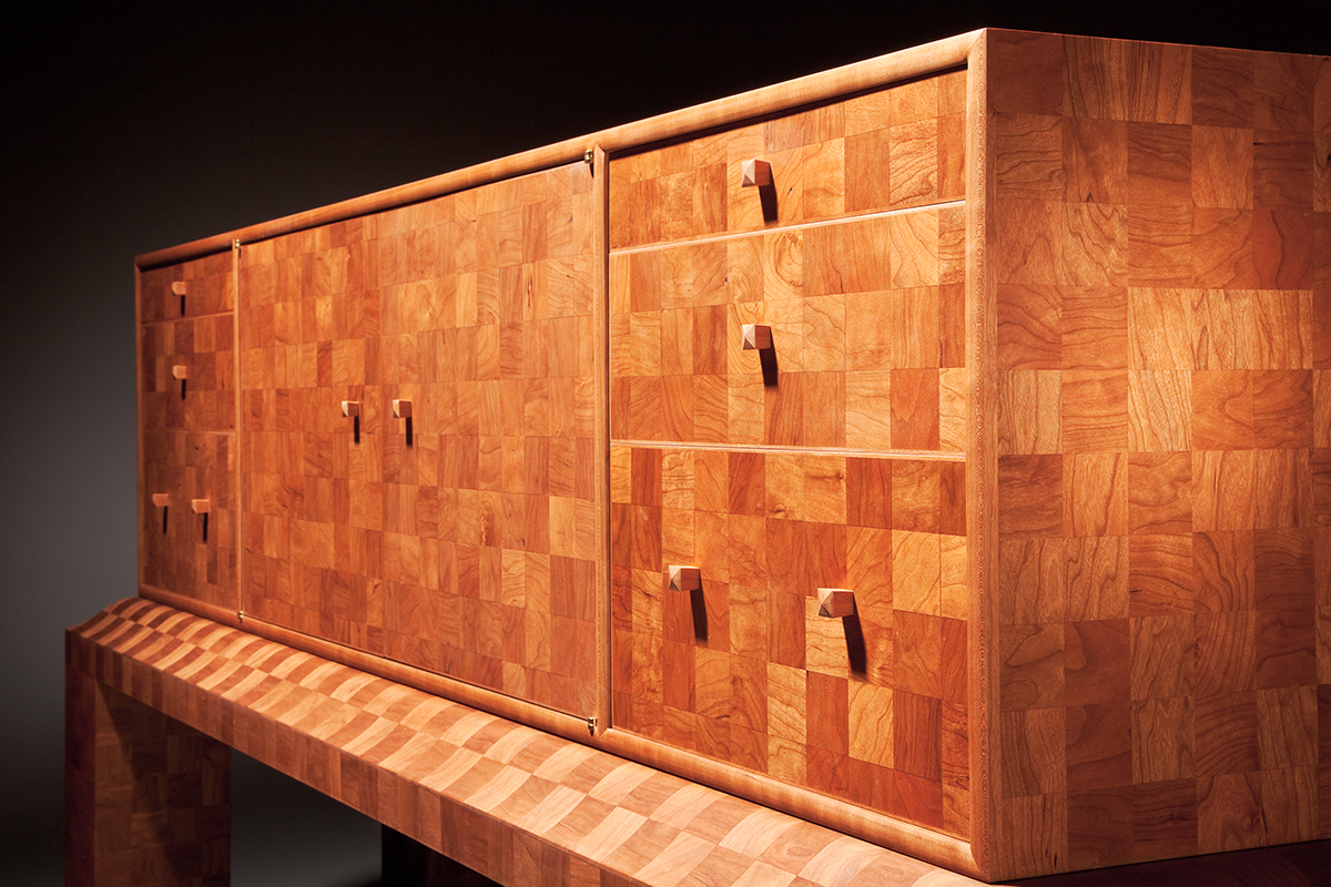"""2700 Squares"" Custom Inlaid Parquetry Sideboard Cabinet (3/4 corner view)"