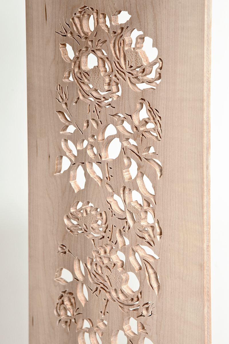 """Coming Up Roses"" Custom Wood Inlaid Parquetry Hall Table with Piercing Detail"