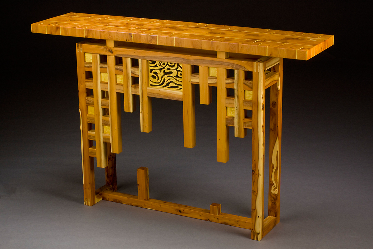 """Loving Yew"" Custom Wood Inlaid Parquetry Hall Table features a wild grain veneer repeated as an organic piercing. Wood: English Yew, Pau Amarillo Finish: Hand-rubbed varnish. Size: 10"" x 60"" x 34""."