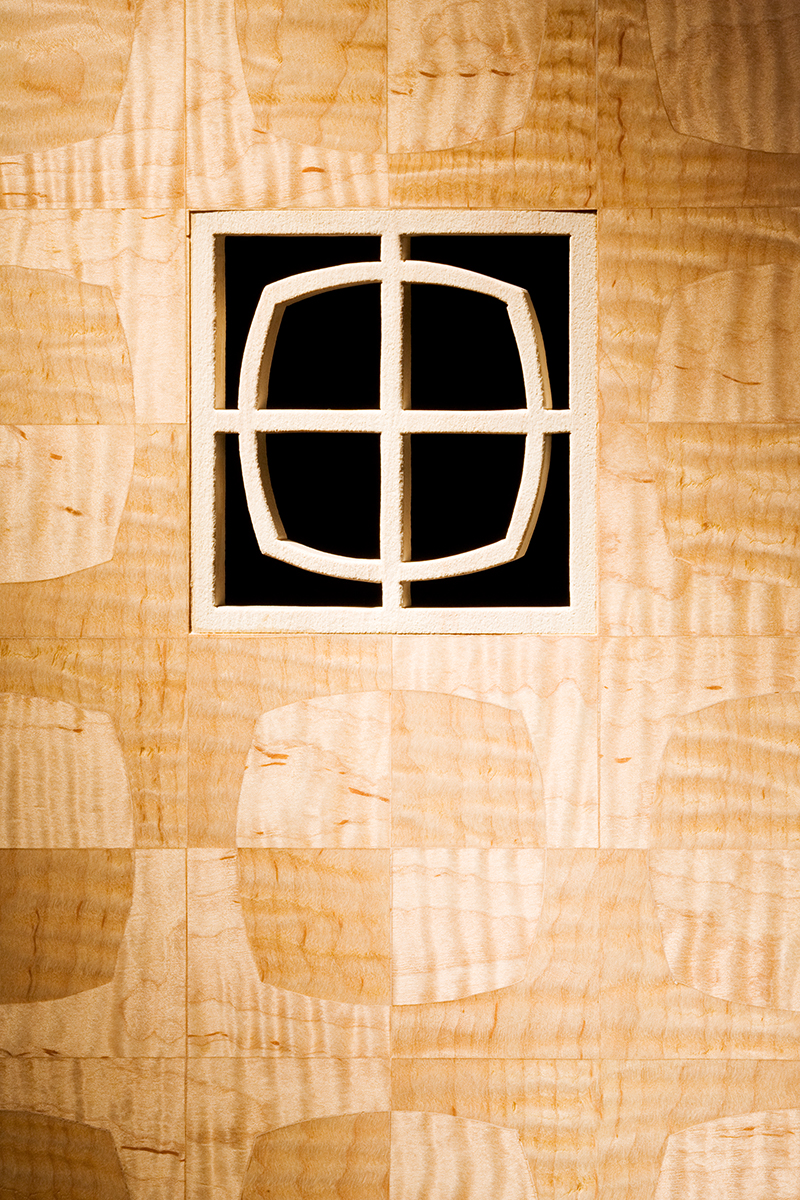 """Screen With a View"" Custom Inlaid Parquetry Divider Folding Screen (with piercing detail)"